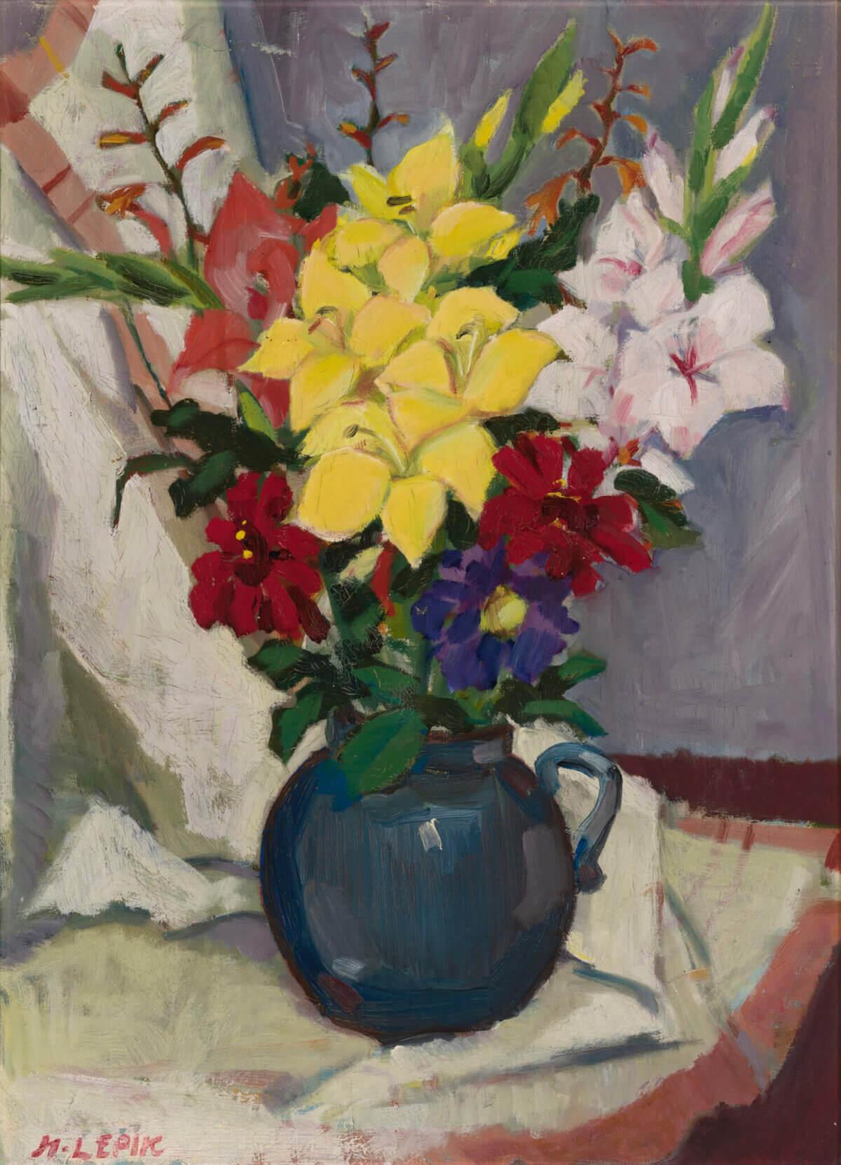 """47. HUGO LEPIK """"Lilled heledal draperiil"""" 1940. aastate teine pool"""