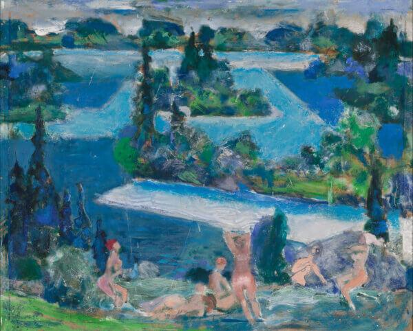 """Alo Hoidre """"Sinine järv"""" 1990. 66,6 x 82,5"""