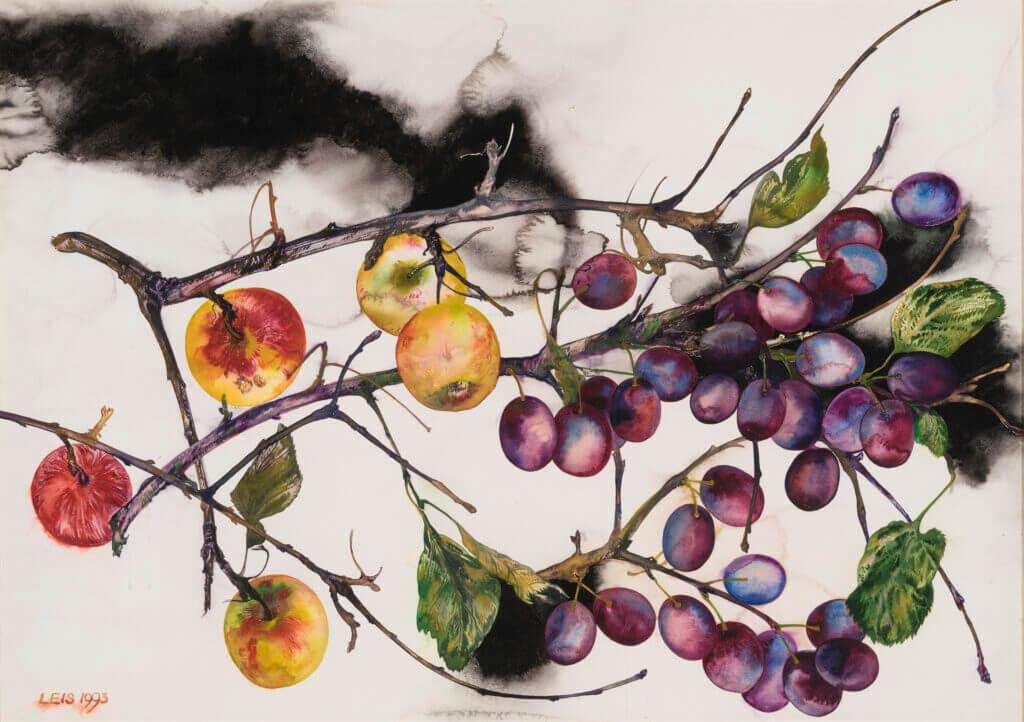 """Malle Leis """"Õunad ja ploomid"""" 1993. 51,5 x 73"""