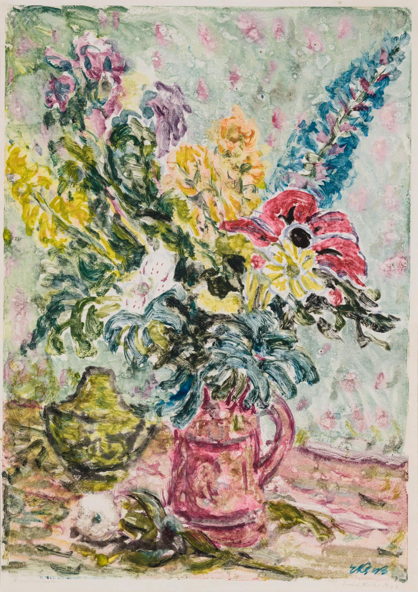 """Endel Kõks """"Lilled"""" 1943. 49,3 x 34,9"""