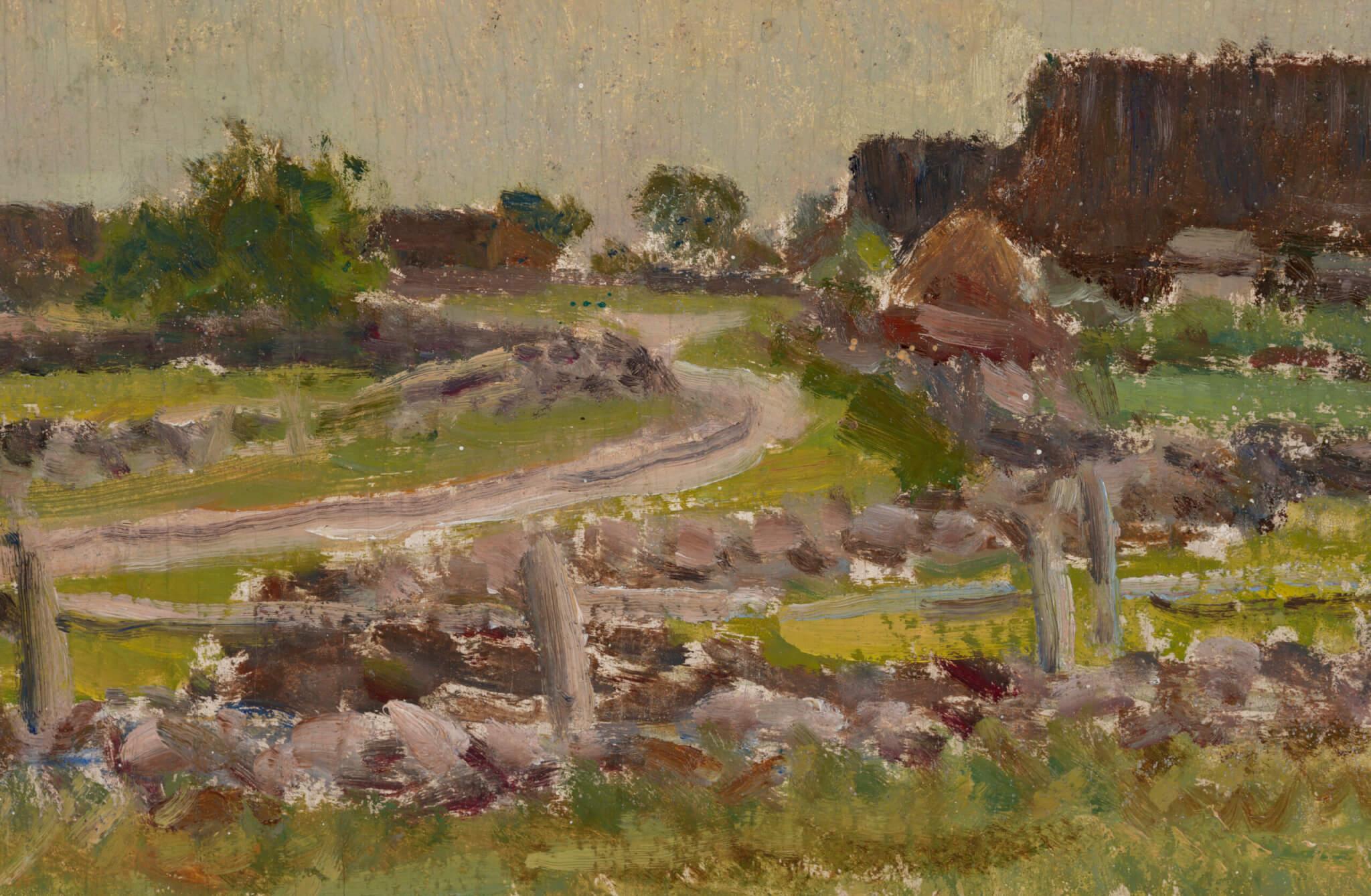 """Johannes Võerahansu """"Saaremaa maastik"""" 1956. 33,6 x 55,4"""