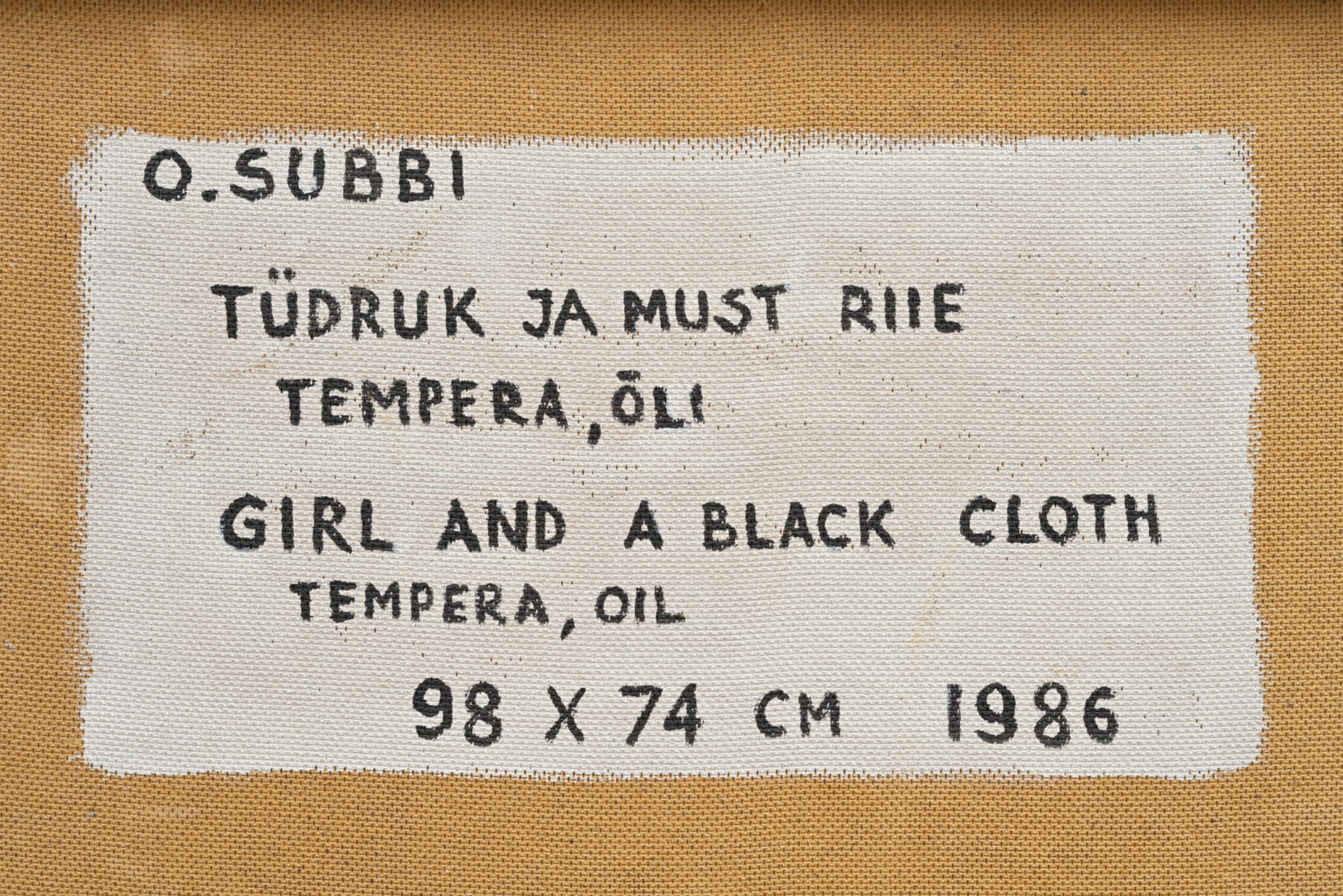 Olev-Subbi-Tüdruk-ja-must-riie-1986-Allee-galerii-oksjon