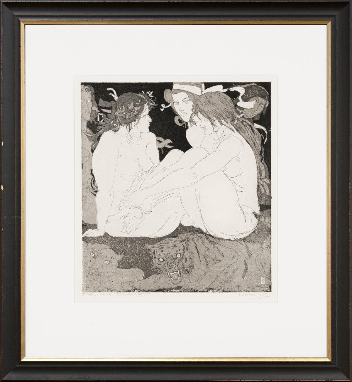 """Evald Okas """"Naised ja tiigrid"""", 1972. 36 x 32 cm."""