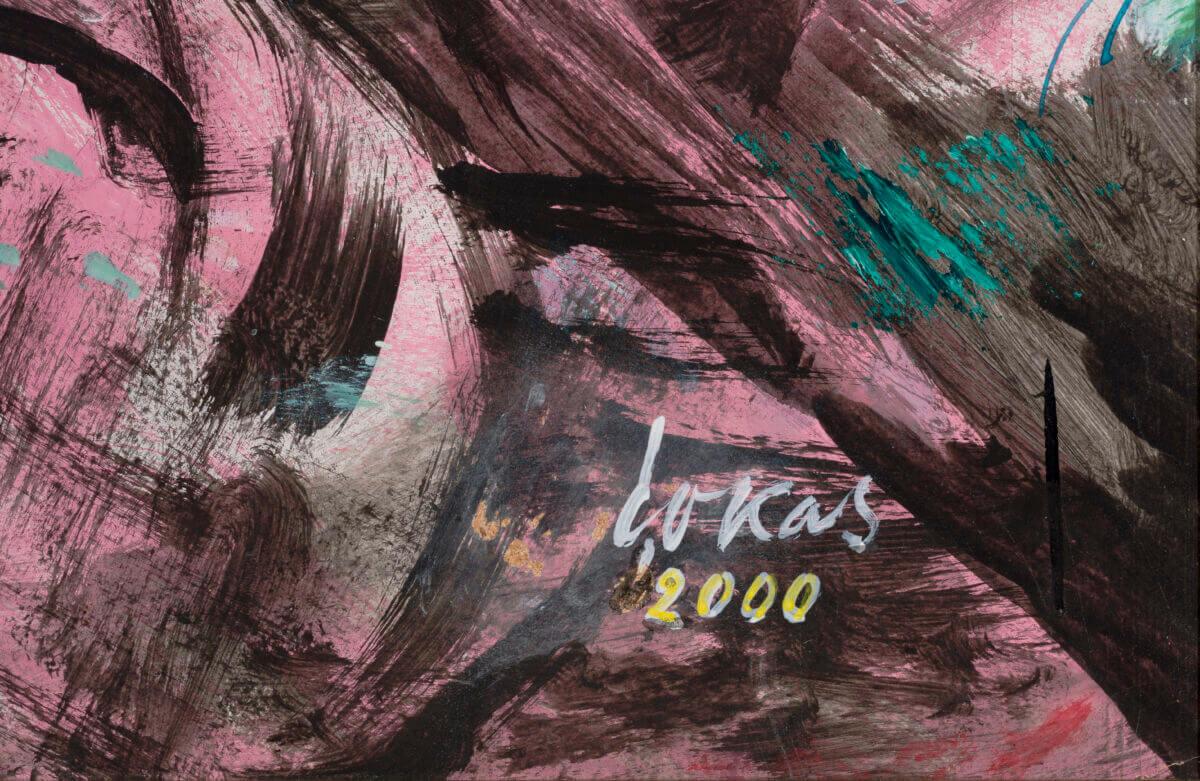 """Evald Okas """"Mustad tiivad"""", 2000. 121 x 150 cm."""