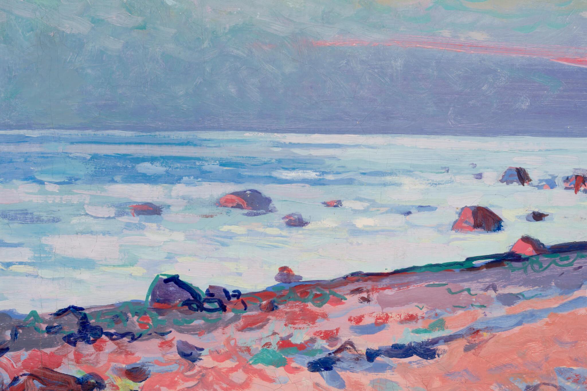 """Richard Uutmaa """"Õhtuvalgus rannal"""", 1960. 50 x 70 cm."""