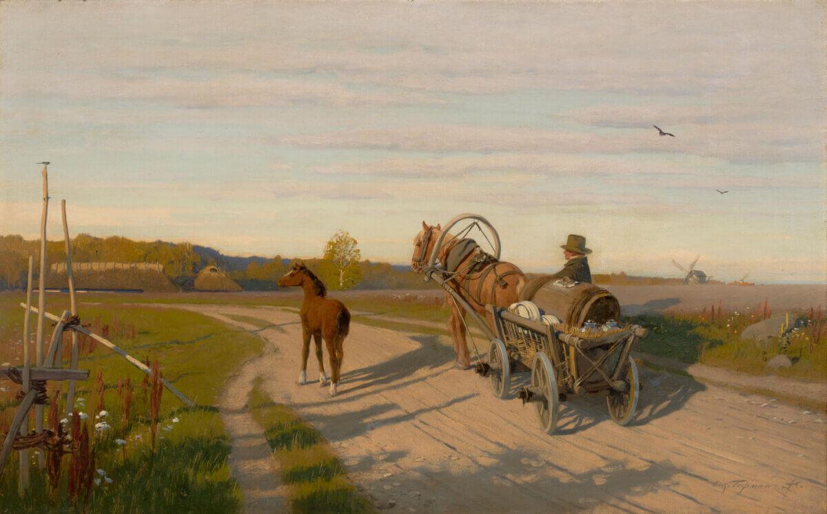 """1. OSKAR HOFFMANN """"Eesti talupoeg vankri ja varsaga teel"""" u 1877 -1880"""