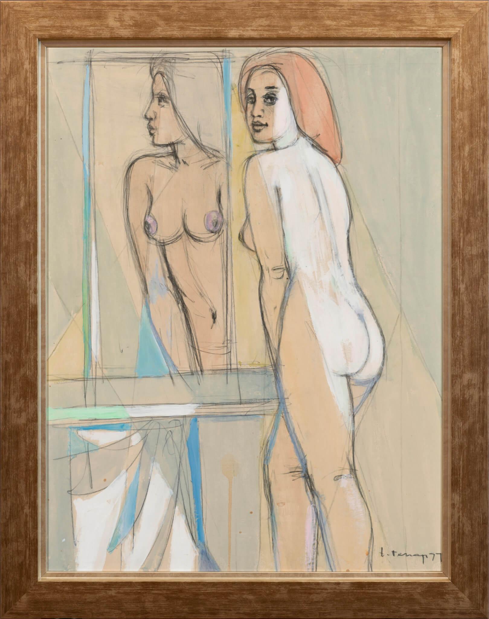"Erich Pehap ""Modell"", 1977. 63 x 48 cm."