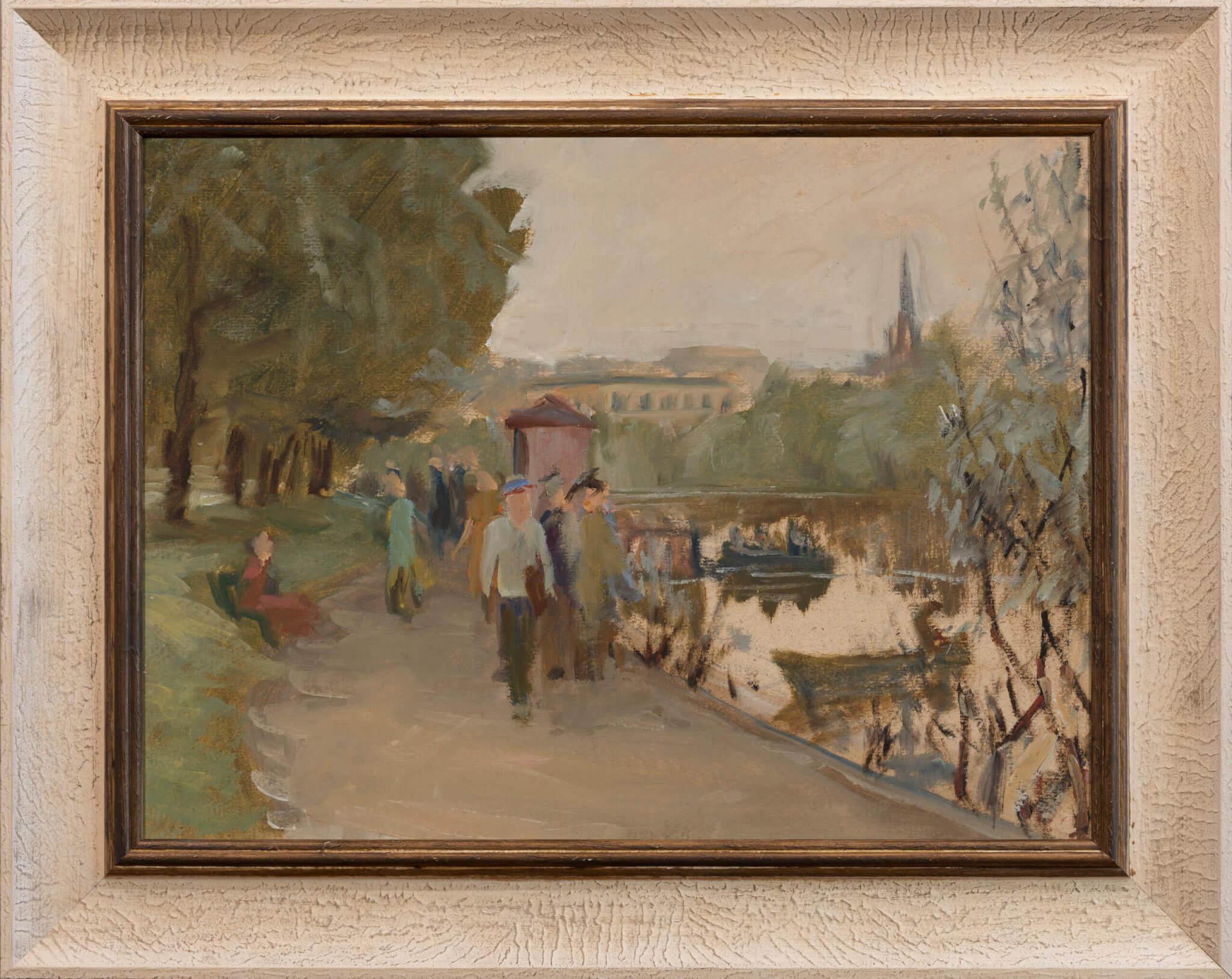 """Jaan Tuuling """"Tartu vaade"""", 1958. 36,5 x 48,5 cm."""
