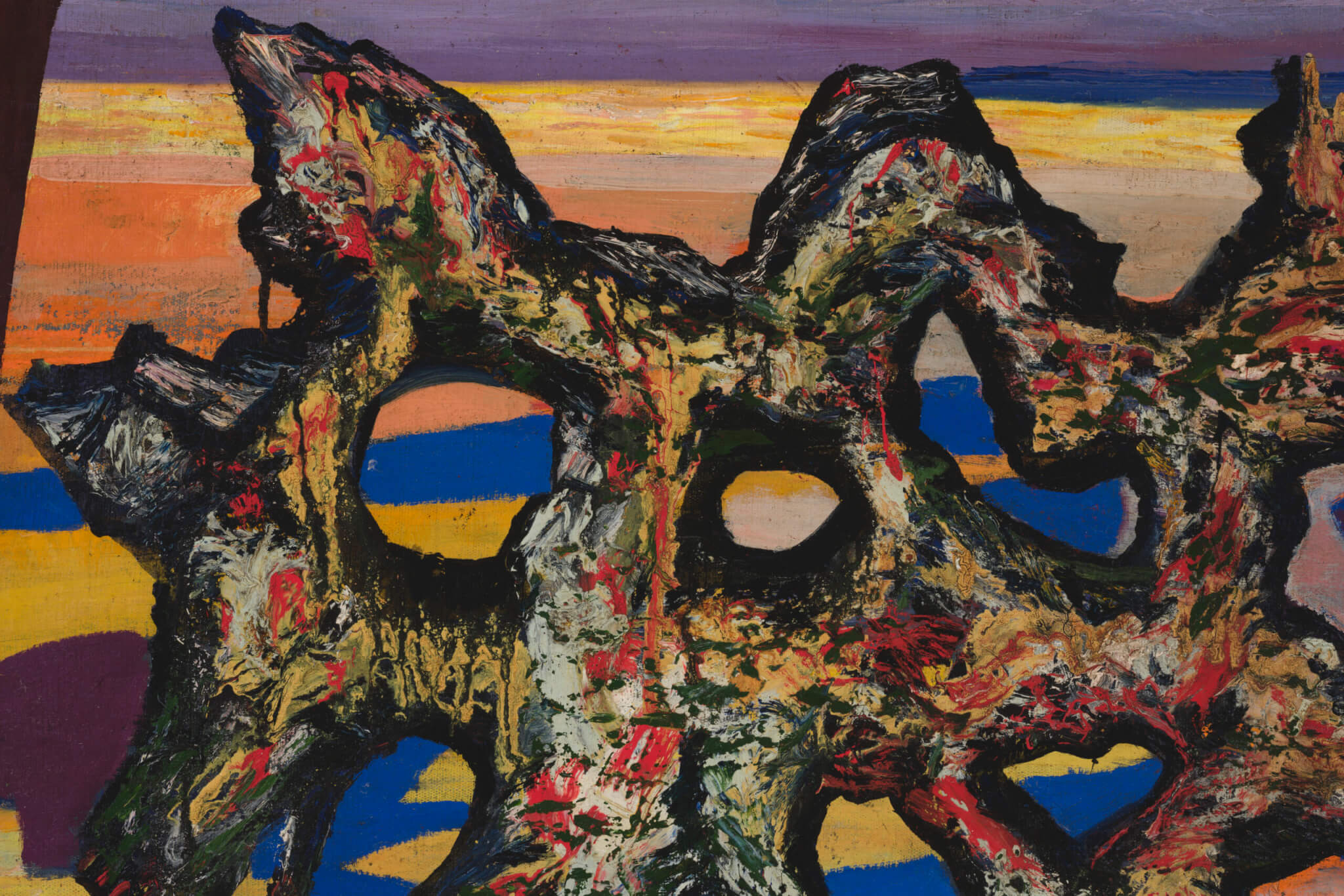 "Valdur Ohakas ""Abstraktne vorm mererannal"", 1960ndate teine pool. 72,5 x 100 cm."