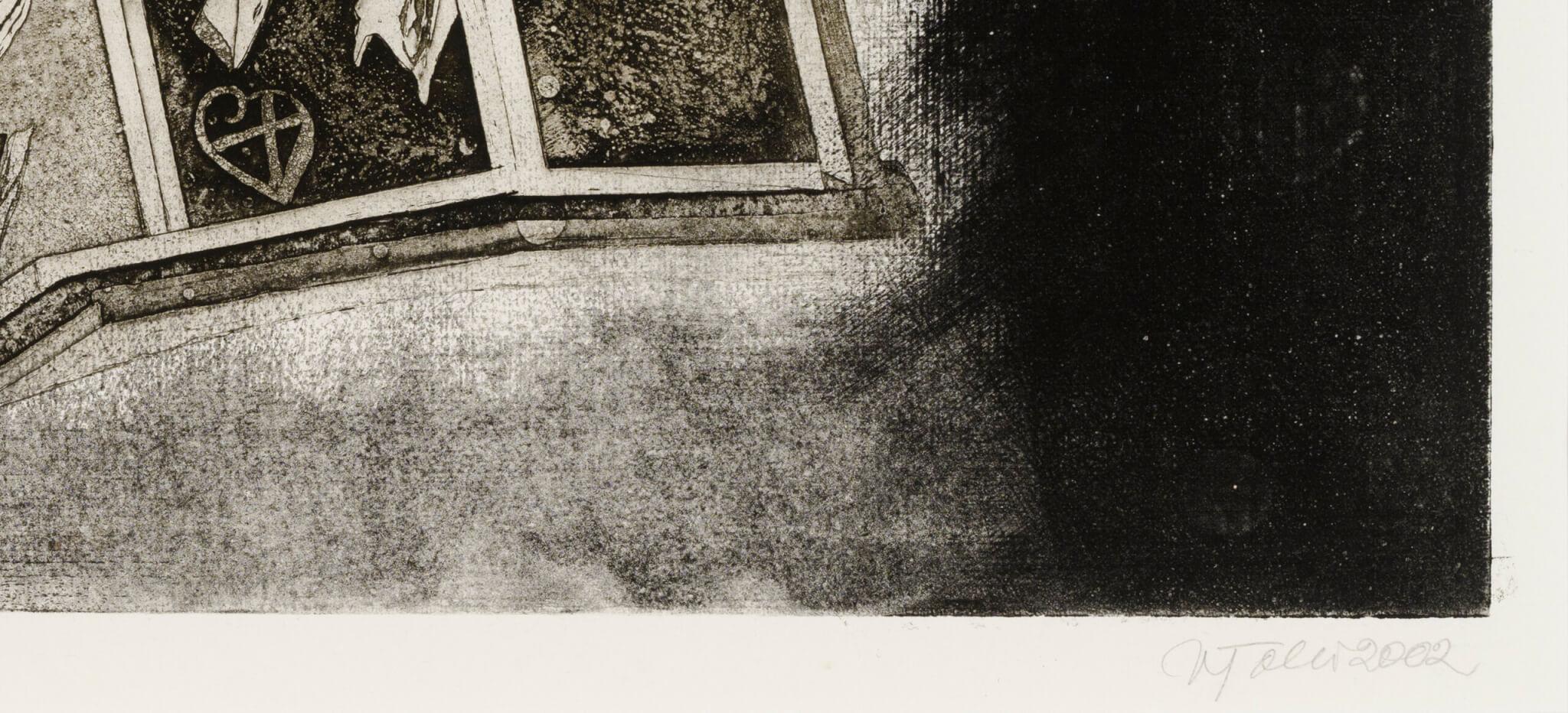 """Vive Tolli """"Vähe viltune ja lendav kellatorn"""", 2002. 69 x 49 cm."""
